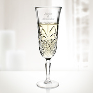 Set of 6 Engraved Molten Glass Diamax Masquerade Champagne Flutes