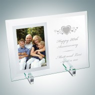 Engraved Vertical Jade Glass Mirror Picture Frame with Stand