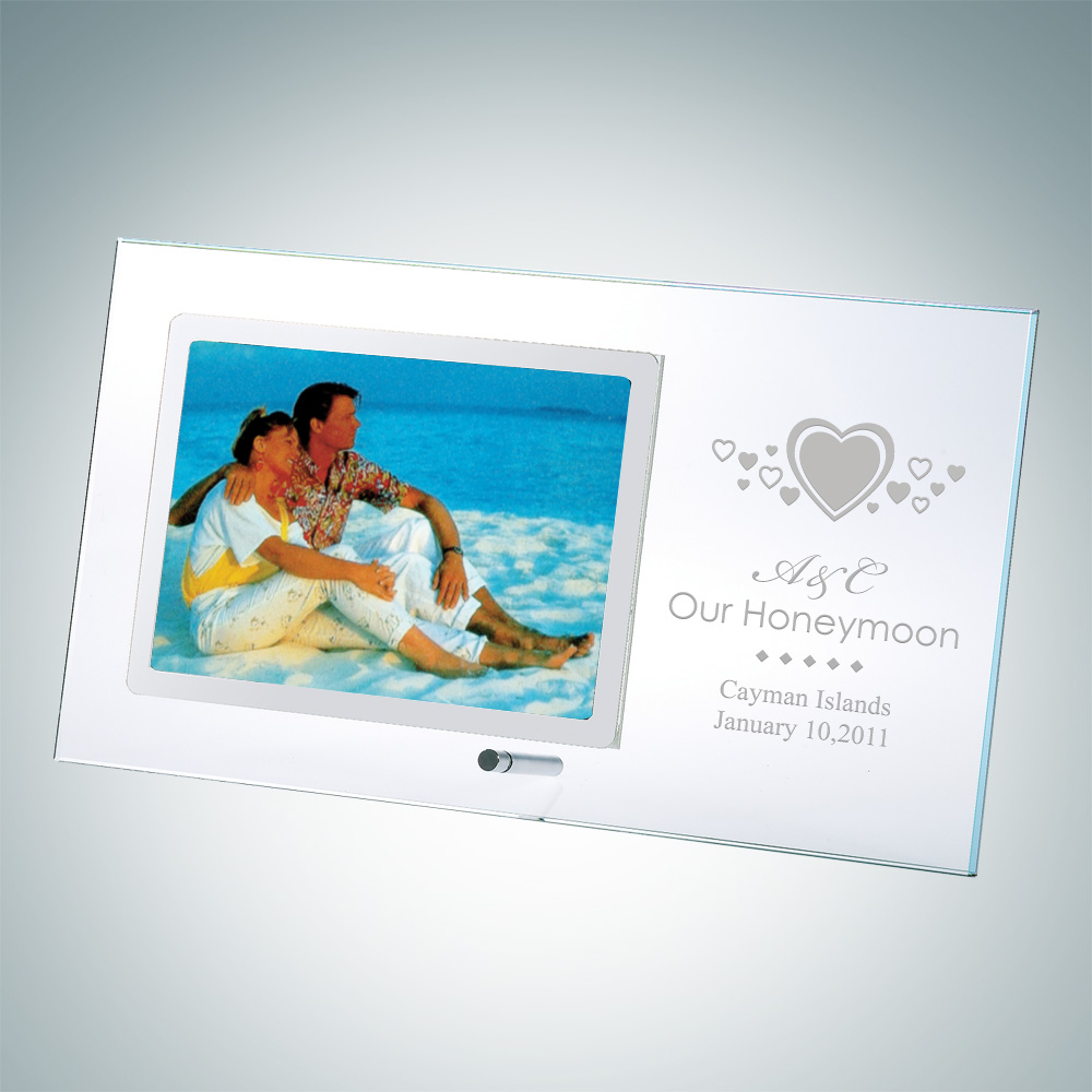 Horizontal Stainless Photo Frame 4 x 6 with Silver Pole