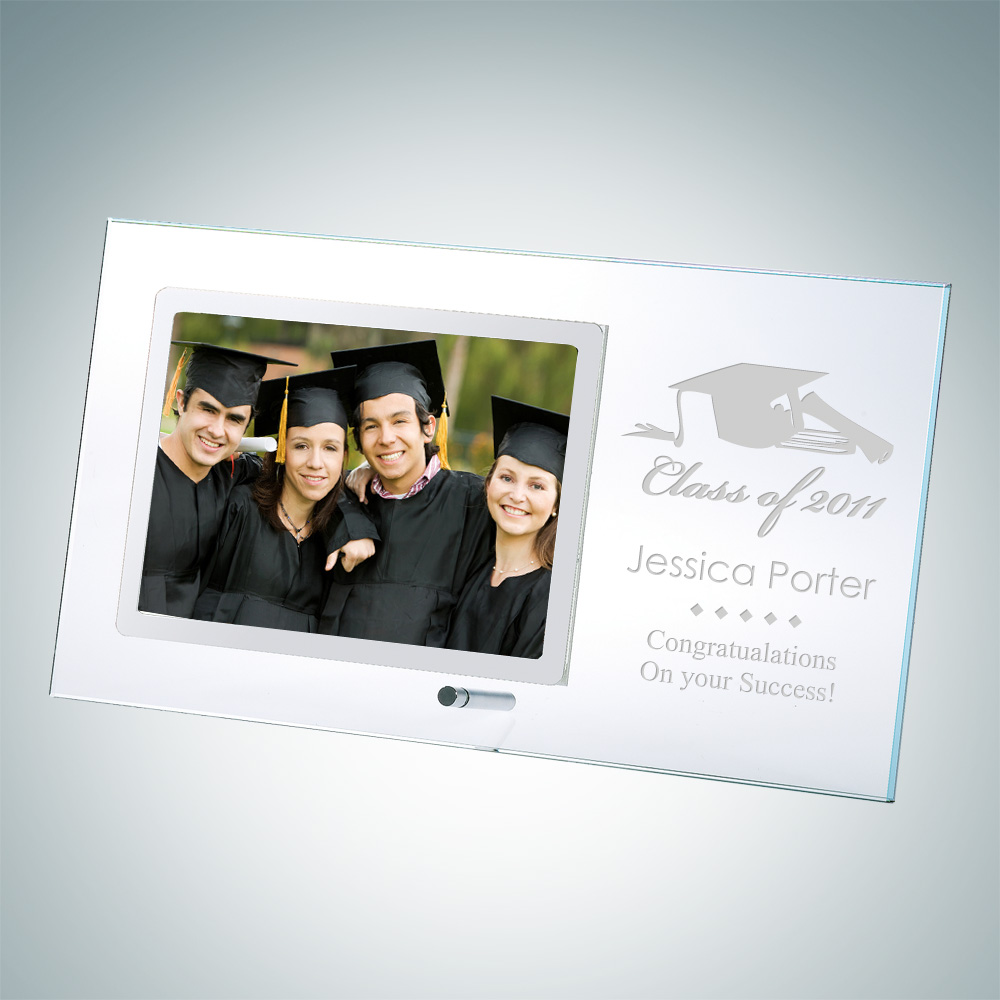 Academic Horizontal Stainless Photo Frame 4 x 6 with Silver Pole