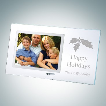 Horizontal Clear Glass Happy Holidays Stainless Picture Frames with Silver Pole