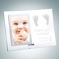 Vertical Clear Glass Stainless Baby Picture Frames with Silver Pole