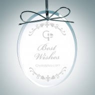 Engraved Clear Glass Premium Oval Christmas Tree Ornaments