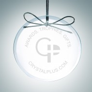 Engraved Clear Glass Premium Circle Christmas Tree Ornaments