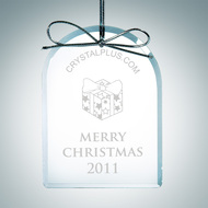 Engraved Clear Glass Premium Arch Christmas Tree Ornament