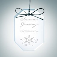 Engraved Clear Glass Premium Long Octagon Christmas Tree Ornament