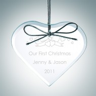 Engraved Clear Glass Premium Heart Christmas Tree Ornaments