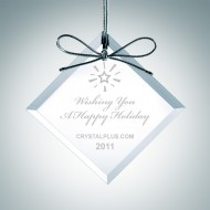 Engraved Clear Glass Premium Square Diamond Christmas Tree Ornaments