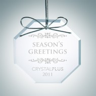 Engraved Clear Glass Premium Octagon Christmas Tree Ornaments