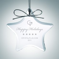 Engraved Clear Glass Star Christmas Tree Ornament