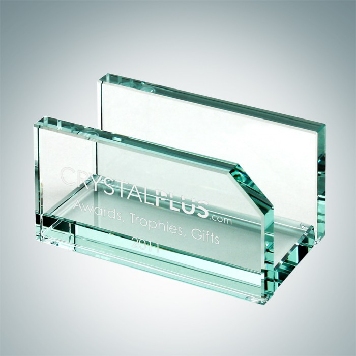 Desk office jade glass business card holder corporate promotion business card holder reheart Gallery