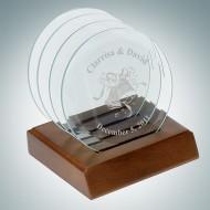 Jade Glass Beveled Circle Engraved Coaster Set