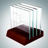 Jade Glass Engraved Square Glass Coaster Set