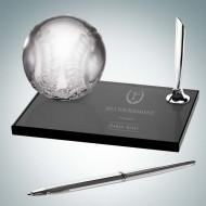 Engraved Molten Glass Smoke Glass Baseball Pen Set