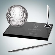 Molten Glass and Smoke Glass Engraved Soccer Pen Set