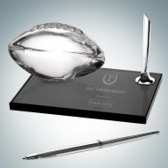 Engraved Smoke Glass Football Pen Sets