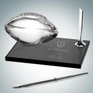 Engraved Smoke Glass Football Pen Desk Set