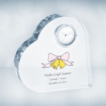 UV Color Imprinted Crystal Heart Clock