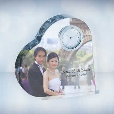 Color Imprinted Crystal Heart Photo Clock