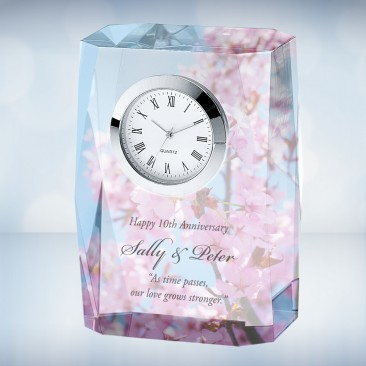 Color Imprinted Beveled Column Photo Clock