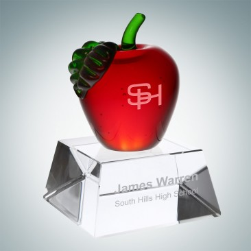 Red Apple with Clear Crystal Base