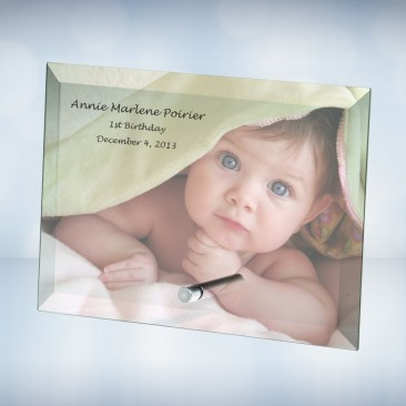 Color Imprinted Beveled Horizontal Rectangle Glass Photo Plaque