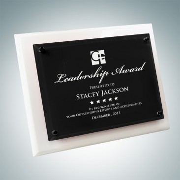White Wood Piano Finish Plaque - Floating Black Glass