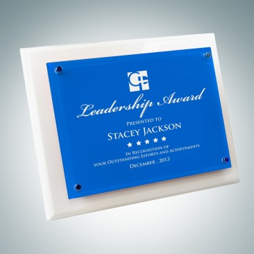 White Wood Piano Finish Plaque - Floating Blue Glass