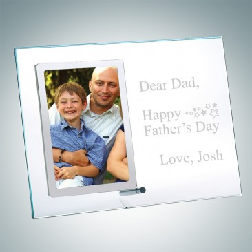 Vertical Stainless Father's Day Photo Frame with Silver Pole