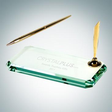 Beveled Glass Gold Pen Set