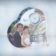 Heart Keepsake Personalized Photo Optical Crystal Clocks