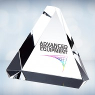 Color Imprinted Beveled Triangle Paperweight