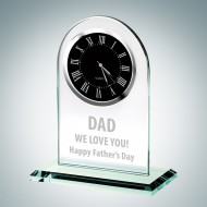 Father's Day Black Roman Engraved Jade Crystal Arch Clock
