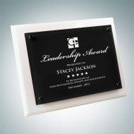 White Wood Piano Finish Plaque - Floating Black Glass Plate