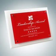 White Wood Piano Finish Plaque - Floating Red Glass Plate