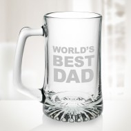 World's Best Dad Engraved Molten Glass 25 oz Sport Beer Mugs