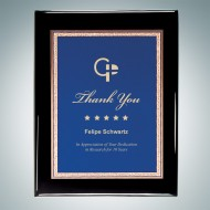 Black Piano Finish Wall Plaque - Blue Victory Plate