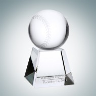 Engraved Optical Crystal Baseball with Base
