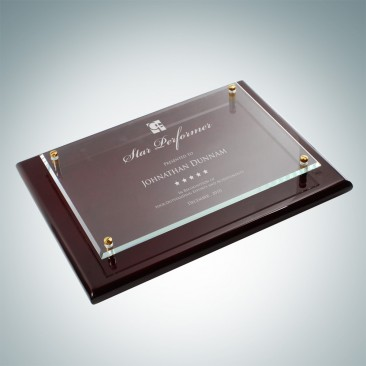 Floating Glass Plate on Gloss Horiz./Verti. Rosewood Plaque